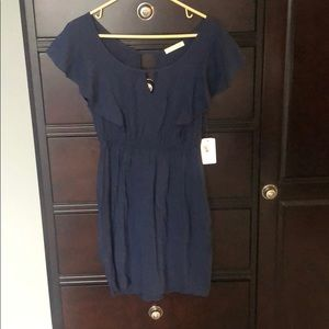 Lush navy blue dress. NWT. Ruffle sleeves.